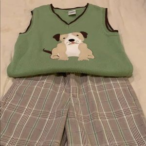 Dog sweater vest and shorts